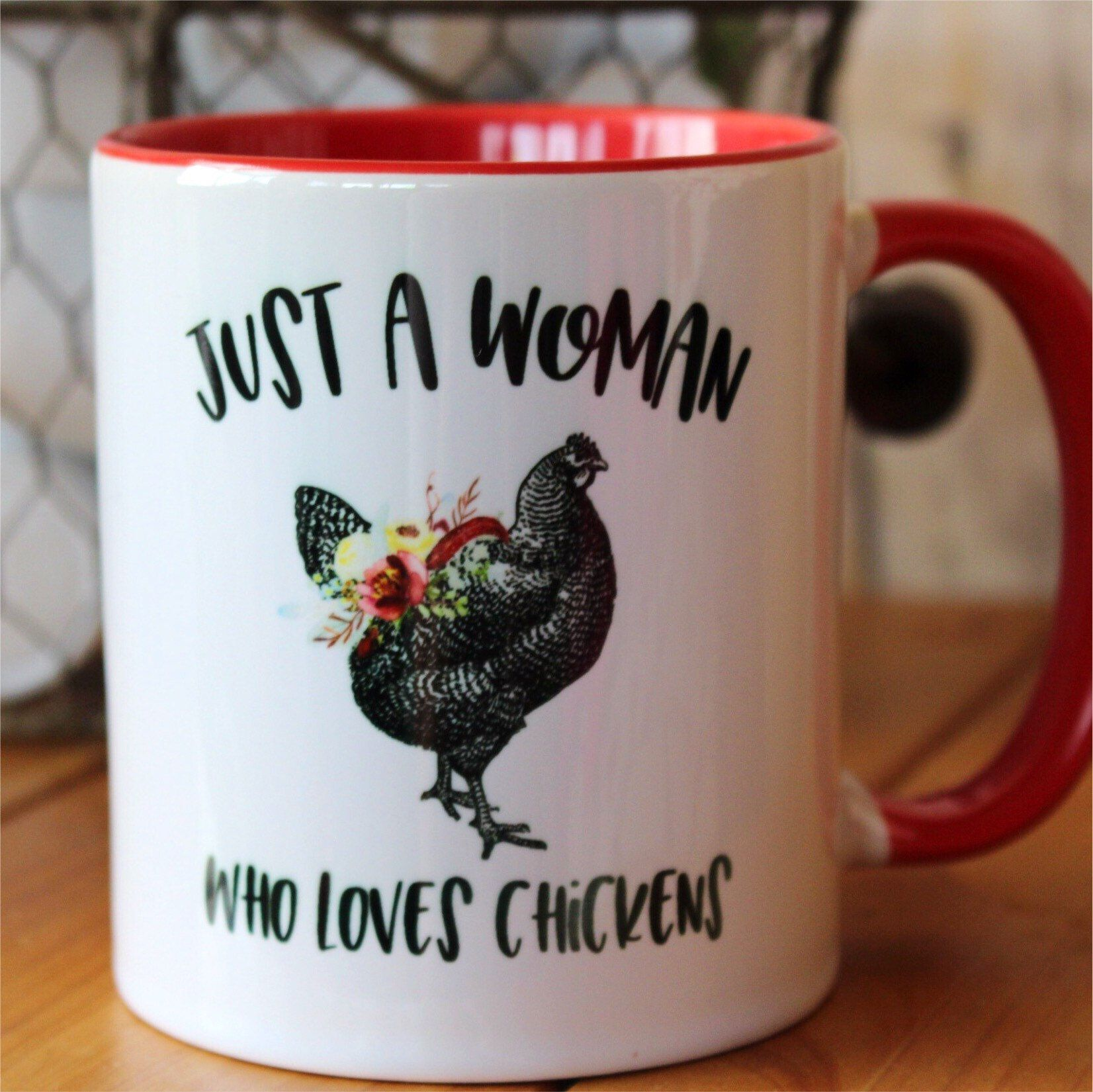 Chicken Mug Just A Woman Who Loves Chickens Black Mug Coffee Mug