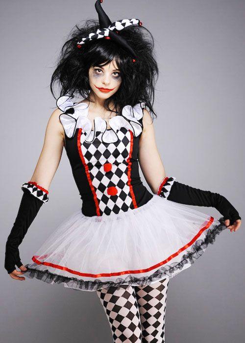 Teen Size Harlequin Honey Gothic Clown Costume 99750234 -9031