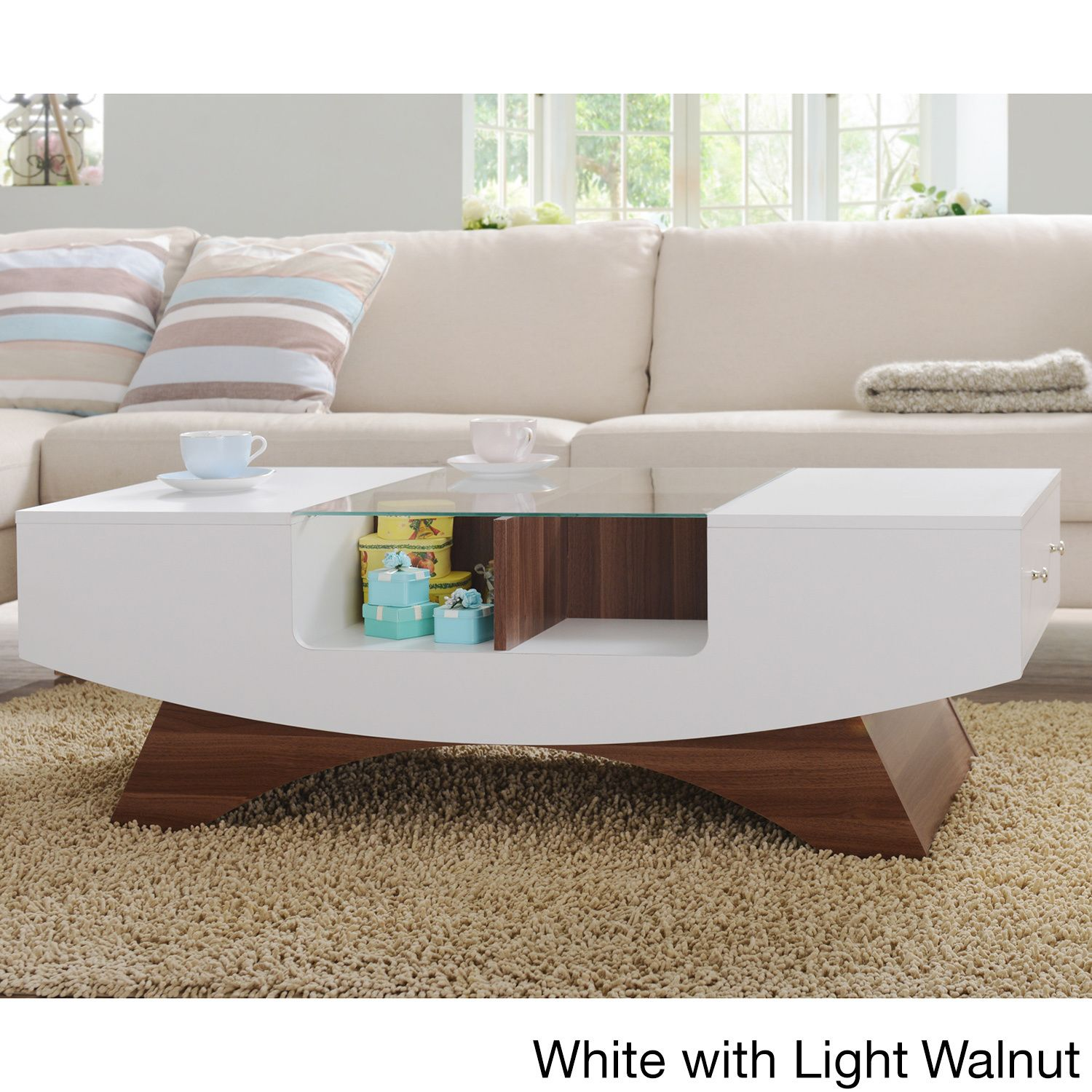 update your home with this modern coffee table featuring a unique