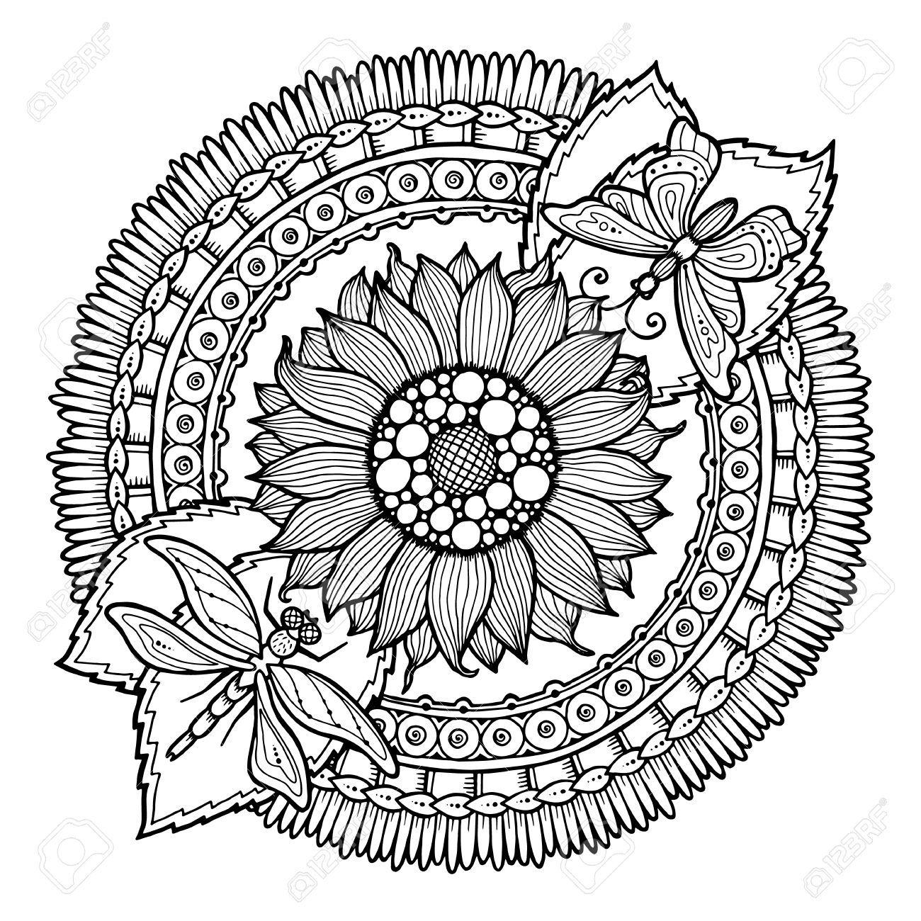 Kreis Sommer Doodle Blumen Ornament Hand Gezeichnet Kunst Mandala Hergestellt Von Trace Von Der Skizze Schwarz Weiss Ethnischen Hintergrund Zentangle Muster Blumen Malen Mandala Ausmalen Muster Malvorlagen