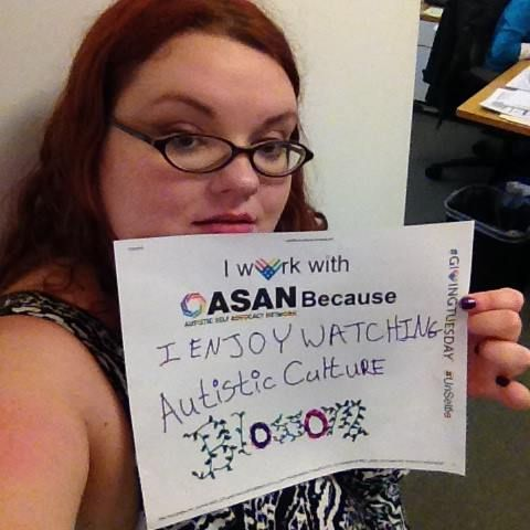 "Savannah Logsdon-Breakstone's #Unselfie says, ""I work with ASAN Because I enjoy watching autistic culture blossom"" with Blossom being decorated with leaves and flowers. Savannah is our Social Media Coordinator."