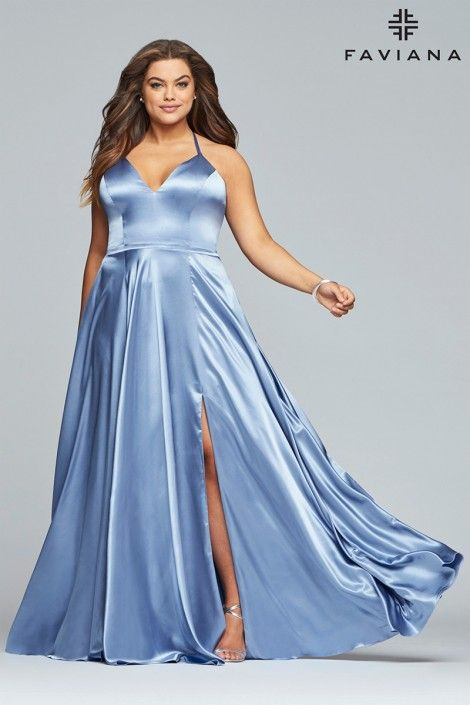6a4e8a990a5 Style 9469 from Faviana Curve is a plus size long V neck charmeuse prom  dress with spaghetti straps