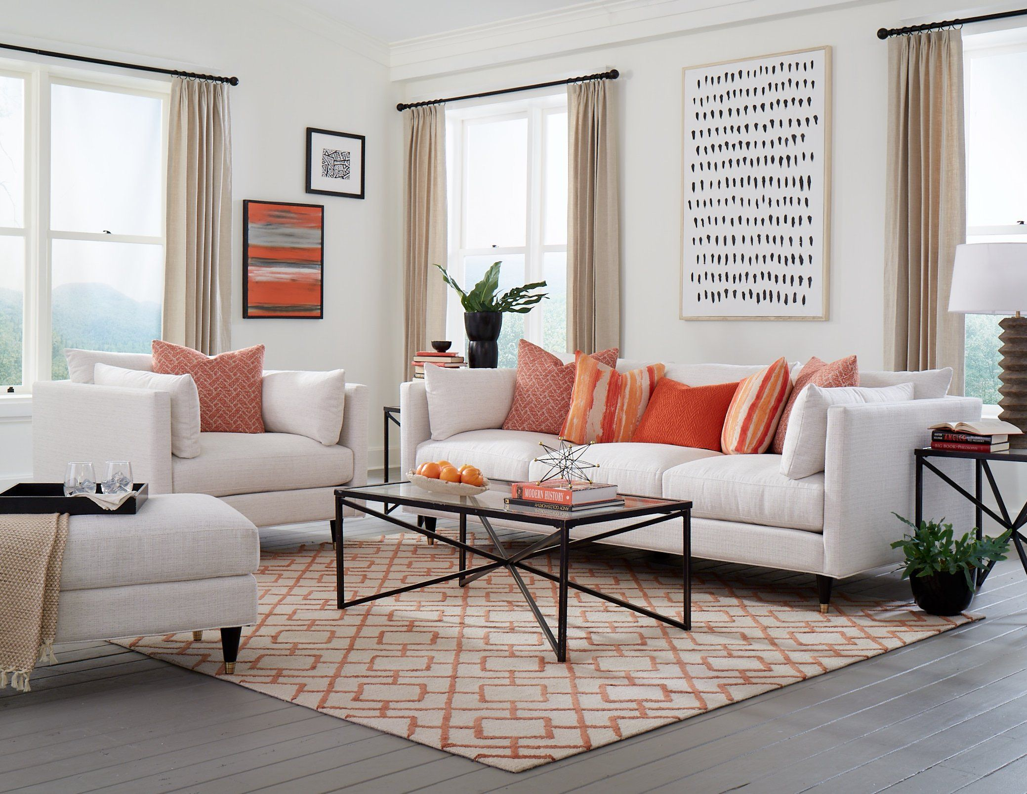 Contemporary Natural White Sofa Pia White Furniture Living