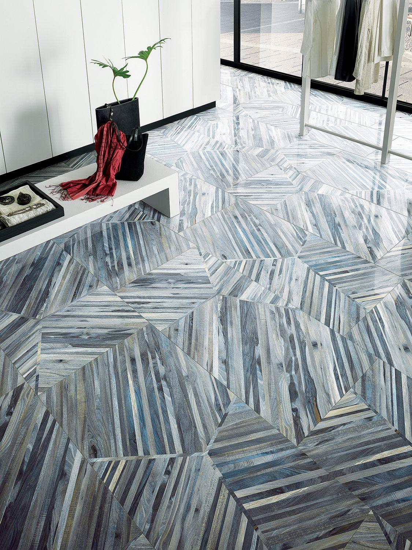 Artistic Tile Kauri Diagonal Blue Wood Look Porcelain Artistic