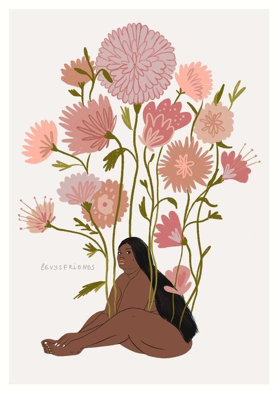 Big Girl Print Flower Art Print Body Positivity Poster Feminist Poster Botanical art Feminist Art Print Girl Power Print Self Love Big Girl Rooms art big Body Botanical Feminist Flower Girl love Positivity Poster power Print