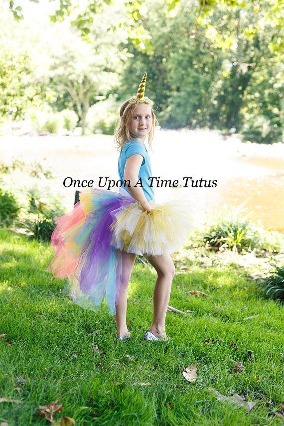 b25d400dca05 Rainbow Unicorn Bustle Tutu - White Gold Halloween Costume Kids ...