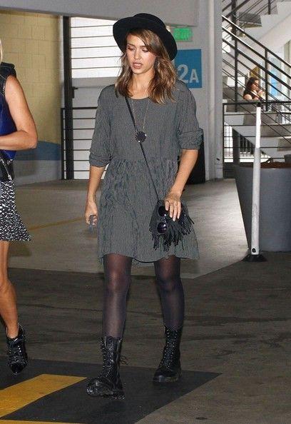 Jessica Alba Mini Dress - Jessica Alba was edgy-boho in a loose gray mini  dress… 48ff3895a4a8c