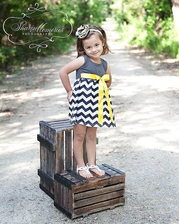 8221159fe6f3 Charcoal Chevron Dress with Yellow Sash