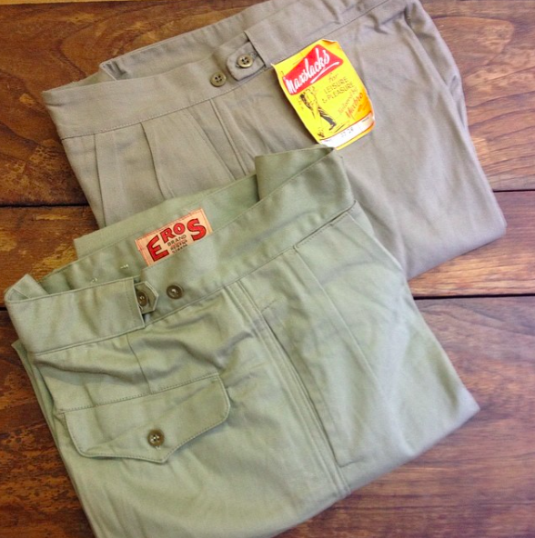 Vintage chinos from Levinson's London.