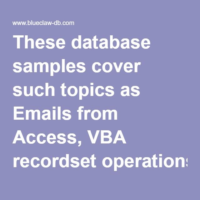 Access Database Tutorial Download: These database samples cover such