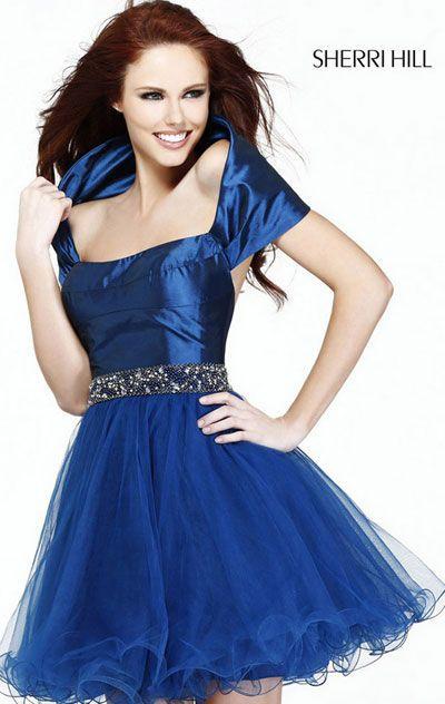 2015 Sherri Hill 21192 Short Tulle Layered Cocktail Dresses Navy Beaded Short-Sleeve [Sherri Hill 21192 Navy] - $166.00 : 2015 homecoming dresses & cocktail dresses fashion choices at homecomingfashion.com!