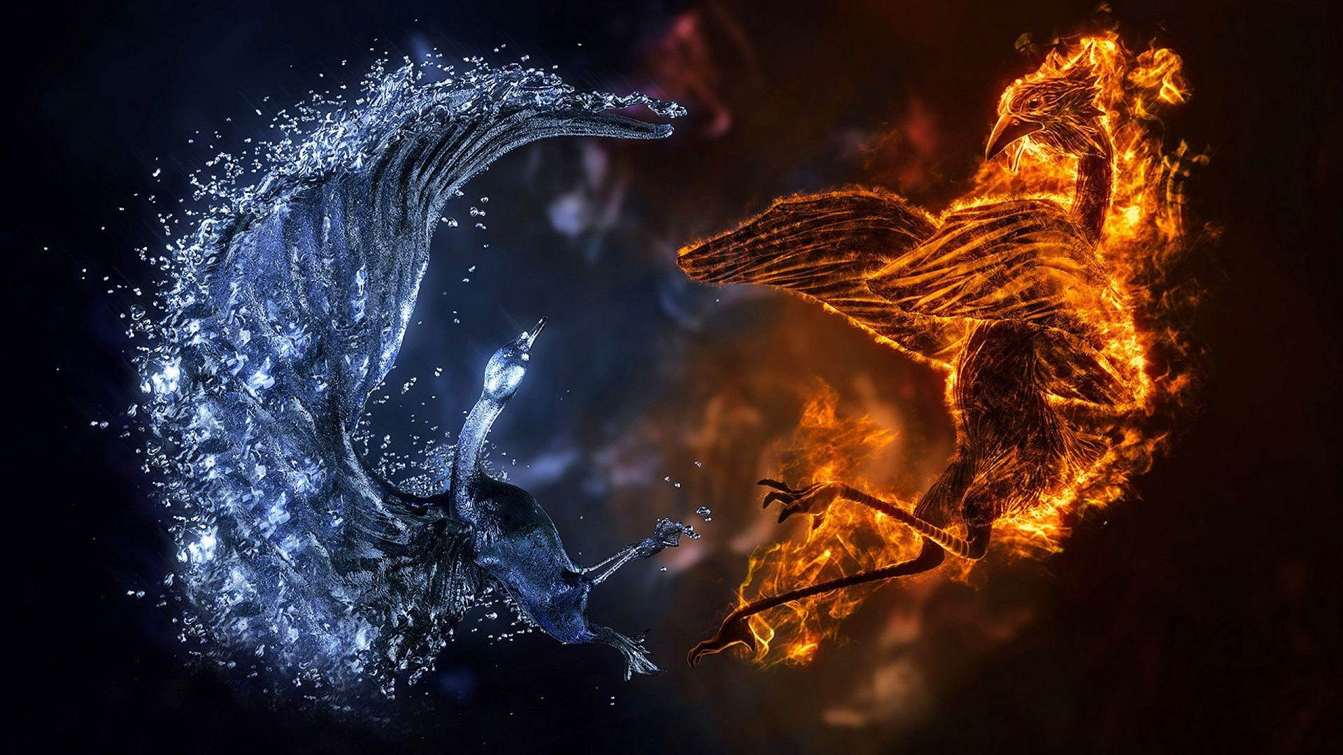 Fire and ice fractal abstract wallpaper hd wallpapers - Description The Wallpaper Above Is Fire Ice Birds Wallpaper In
