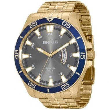 693fe36e361 28728GPSGDA3 Relógio Masculino Dourado Seculus Long Life