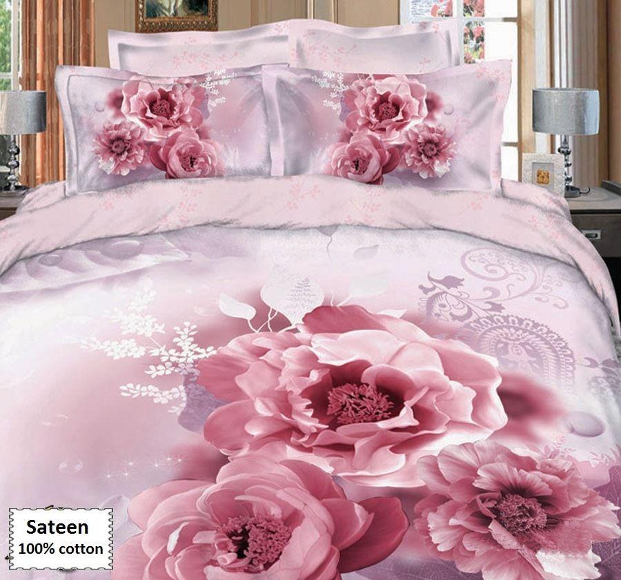 Pink Rose Duvet Cover Set Online 4 Pcs Beddingeu