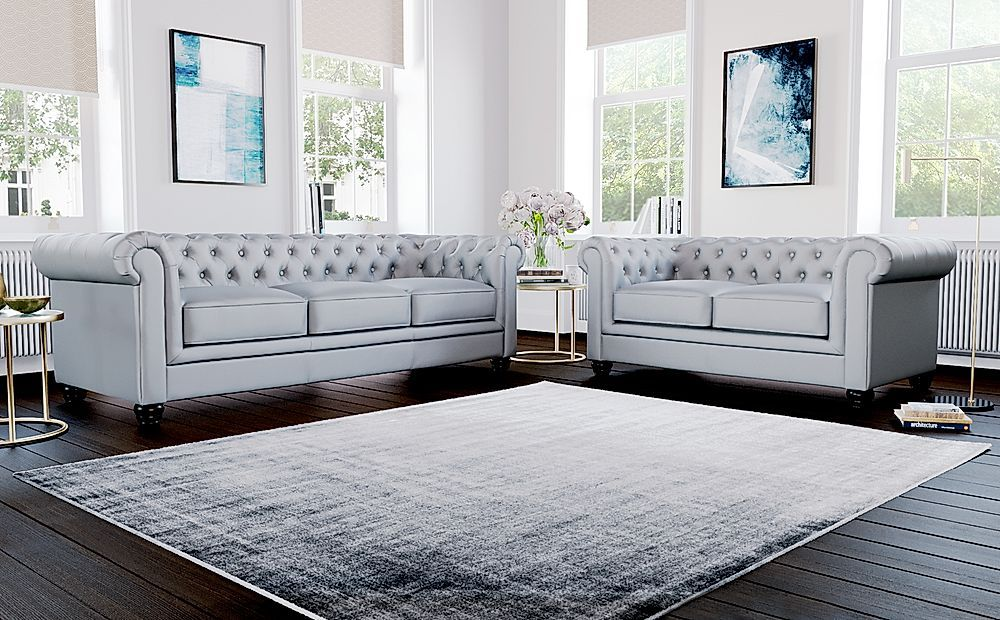 Hampton Light Grey Leather 3 2 Seater Chesterfield Sofa Set In