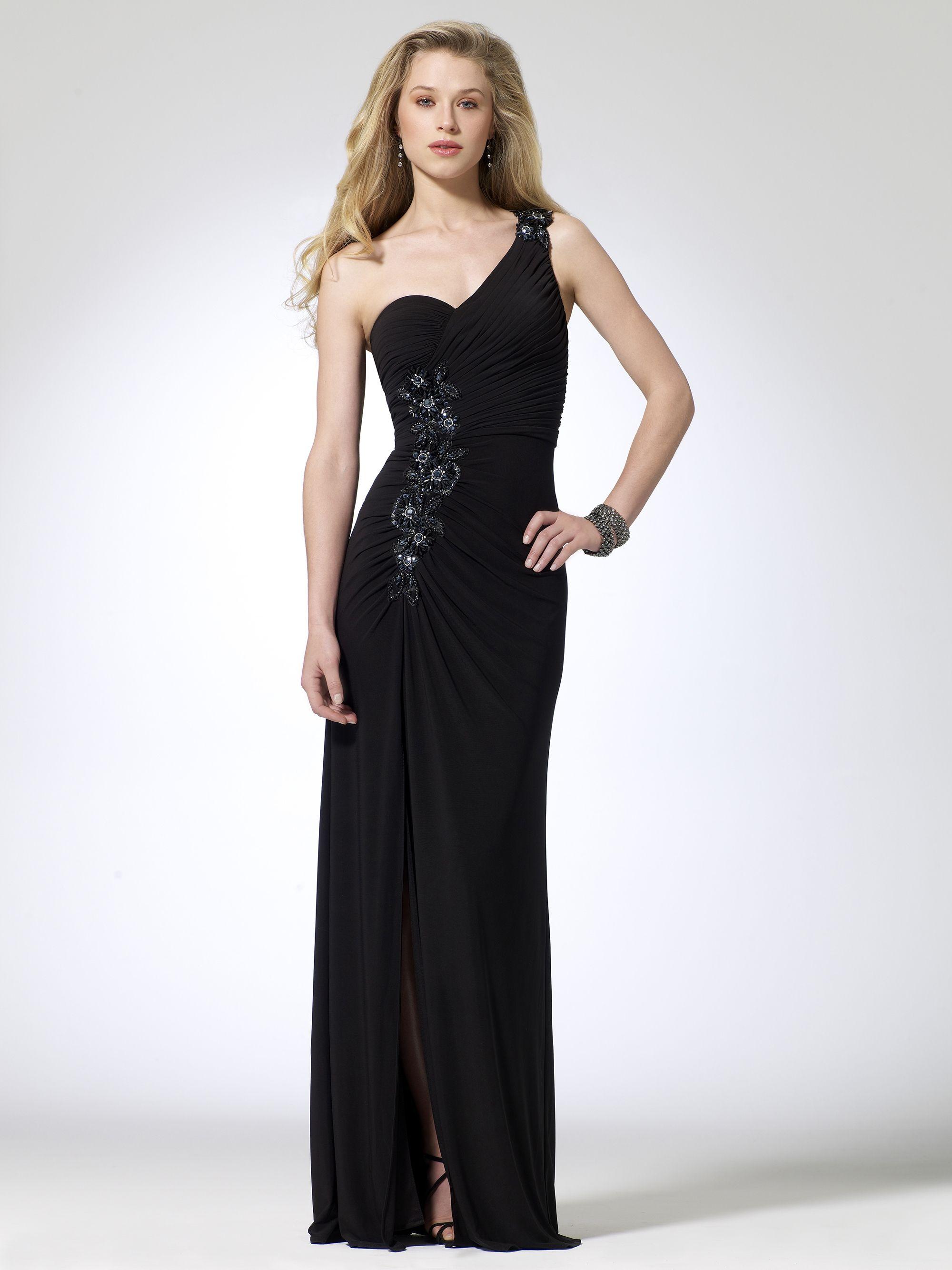 Beaded Waist One Shoulder Gown Evening Dresses Pinterest