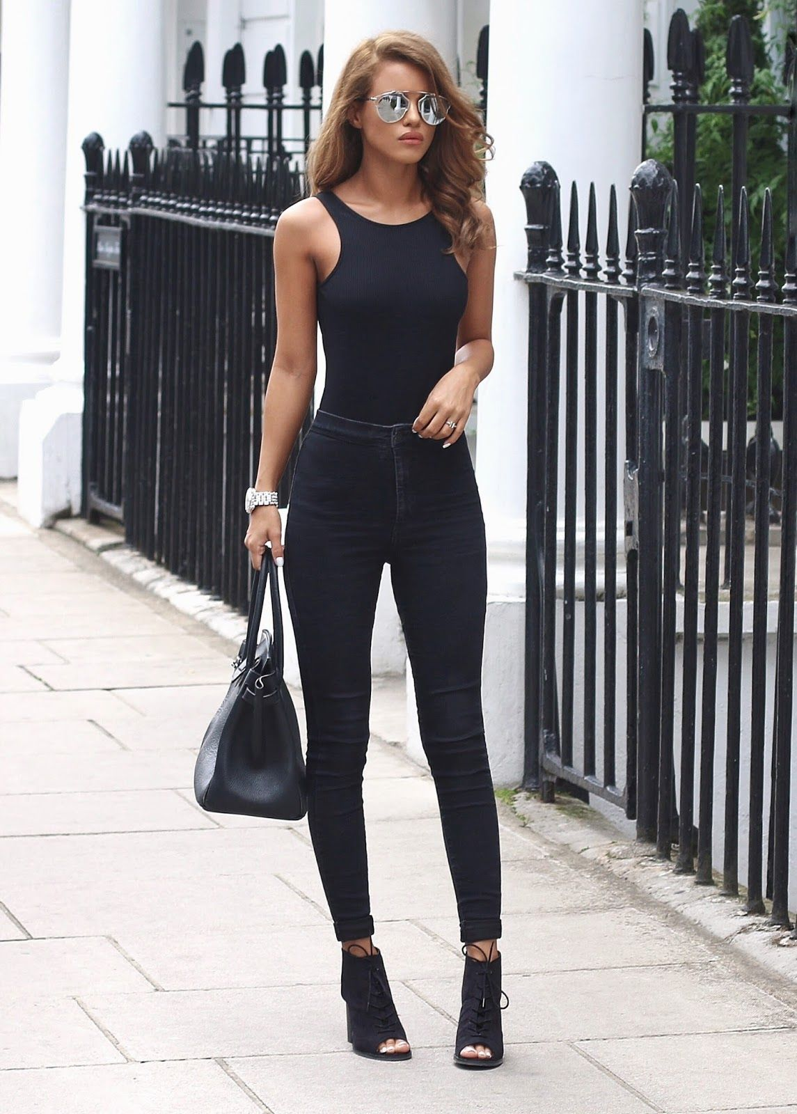 Lace bodysuit with high waisted jeans  Whatus Trending  Gorgeous Outfits On The Street  Pinterest
