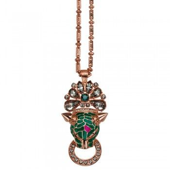 Mawi Neon Spiked Panther Head and Crystal Pendant in Rose Gold