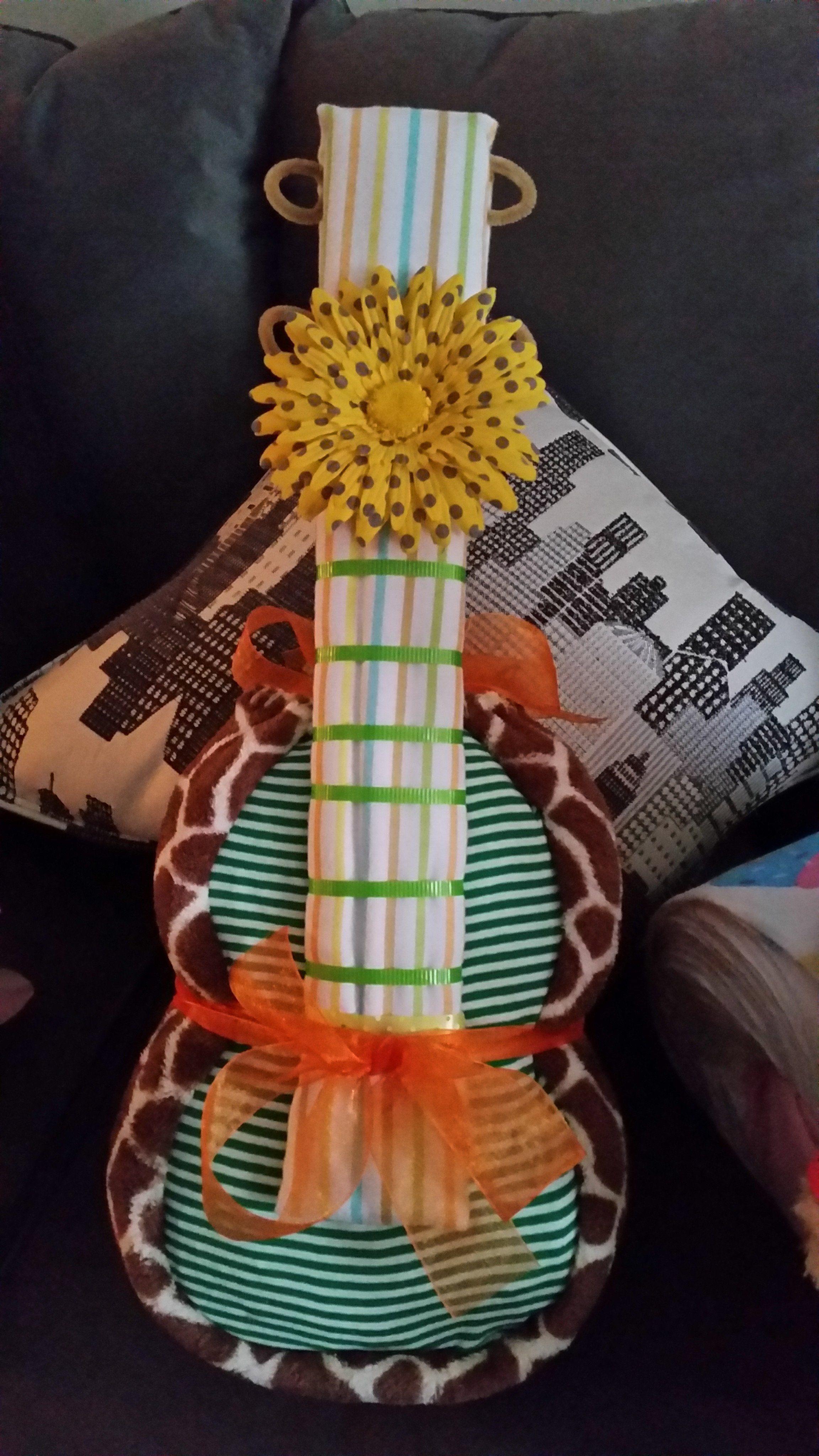 Diaper cake theme music guitar safari gifts