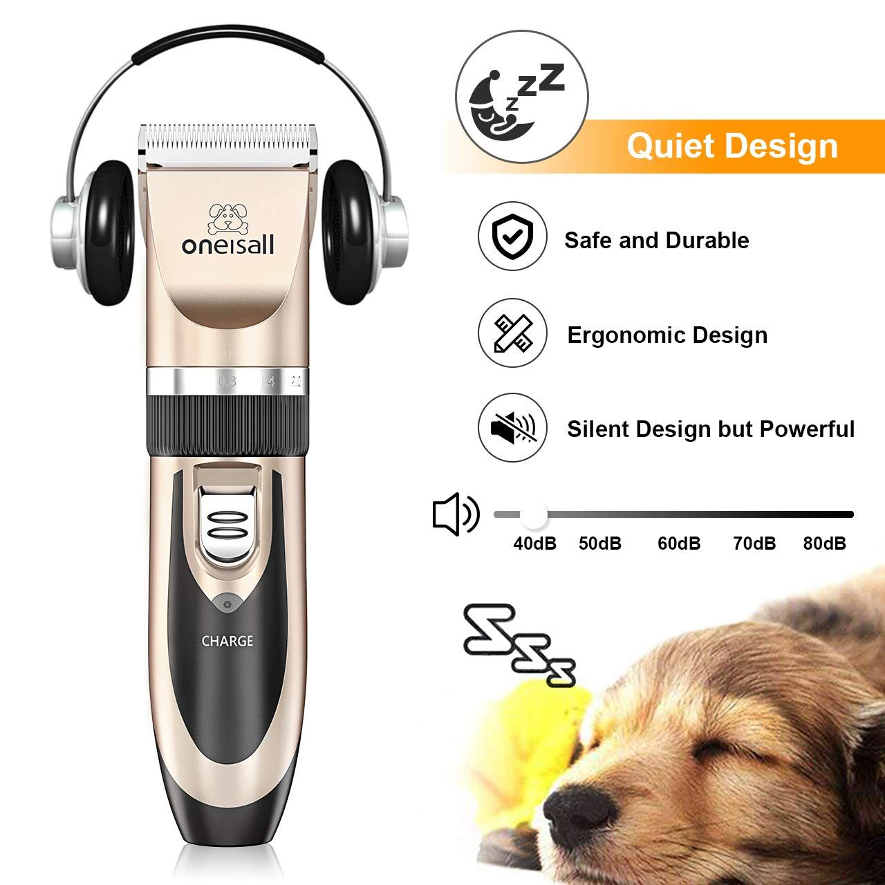 Oneisall Dog Shaver Clippers Low Noise Rechargeable Cordless Electric Quiet Hair Clippers Set For Dogs Cats Pets Noise Dog Clippers Hair Clippers Pet Grooming