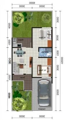 denah rumah minimalis ukuran 6x15 meter 2 kamar tidur 1