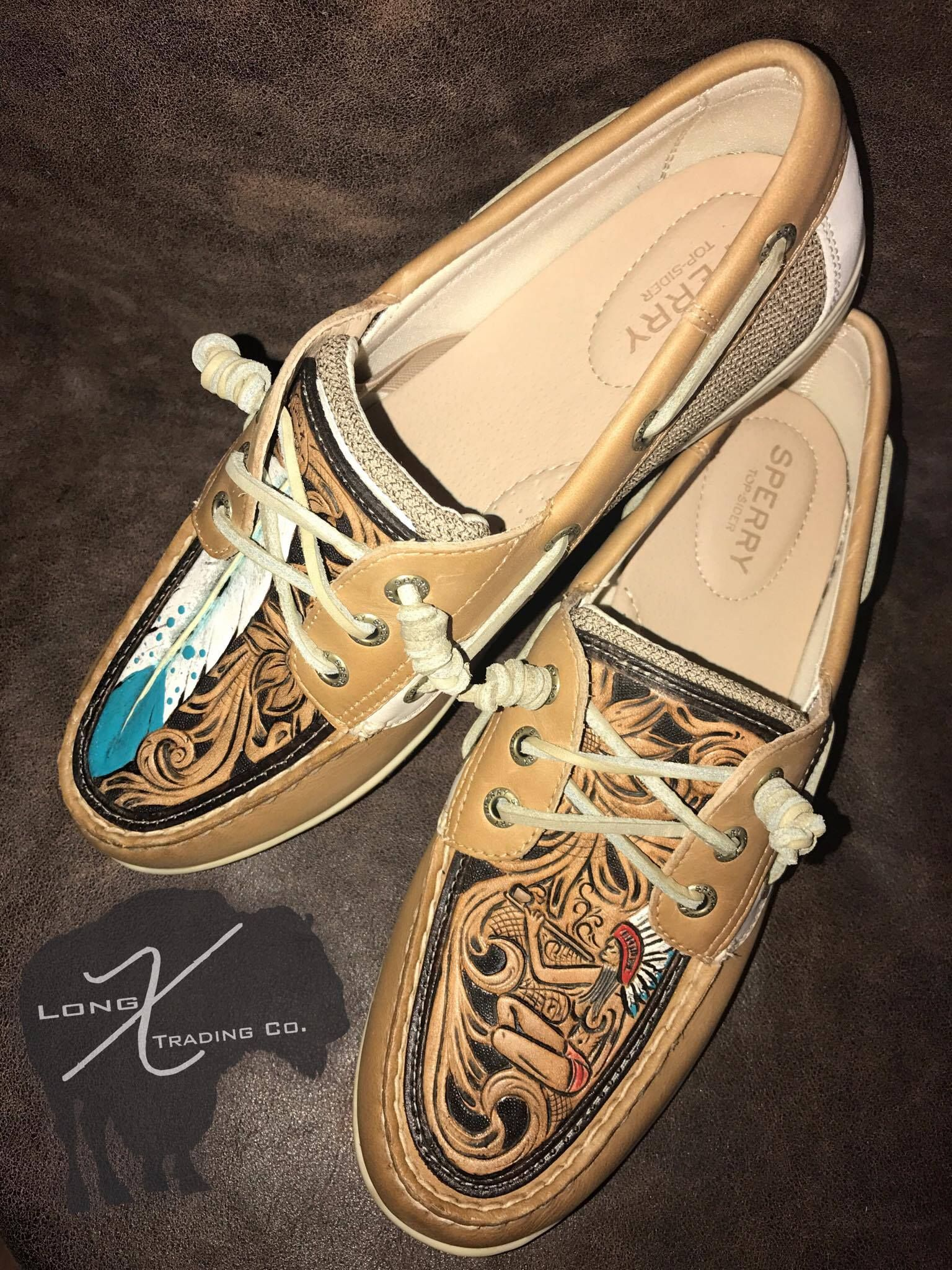 c5c0a8e866 Custom Tooled Sperry Docksiders with turquoise feather and native designs
