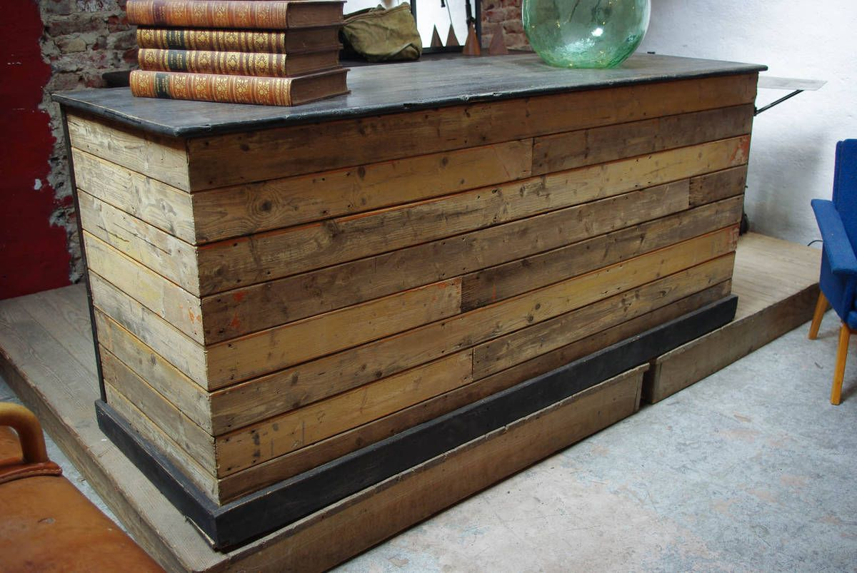 Comptoir de commerce en bois par le marchand d 39 oublis inspiration industrielle brut - Fabriquer un comptoir bar ...
