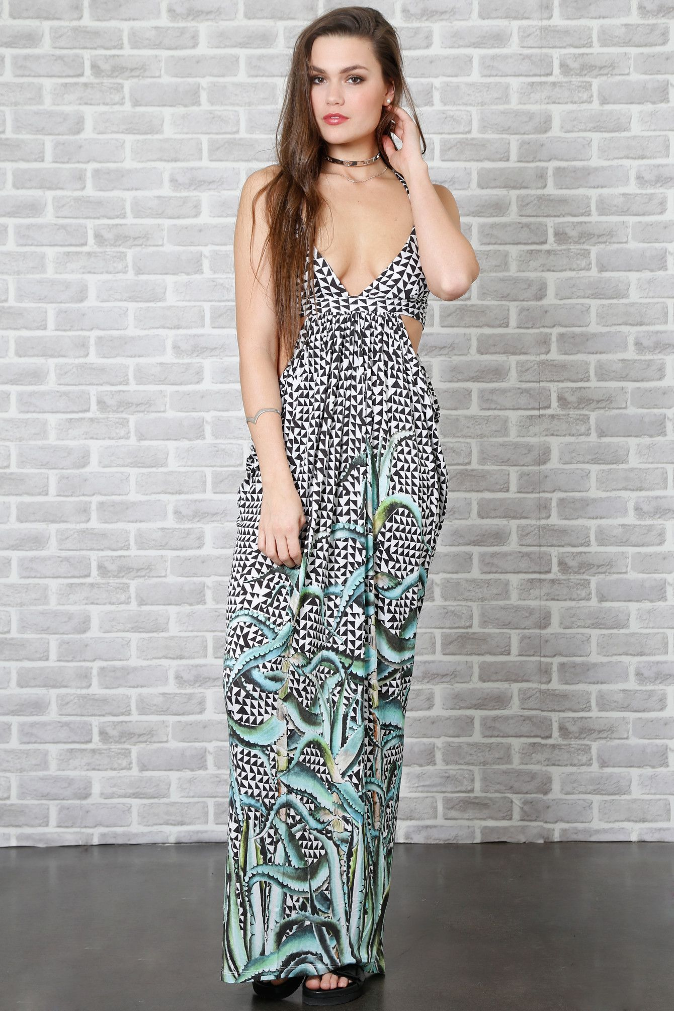 Aloe Print Maxi Dress