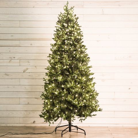 Shop Holiday Living 7 5 Ft Pre Lit Montaspruce Slim Artificial Christmas Tree With 800 Constant Warm White Led Lights At Slim Artificial Christmas Trees White Led Lights Christmas Tree