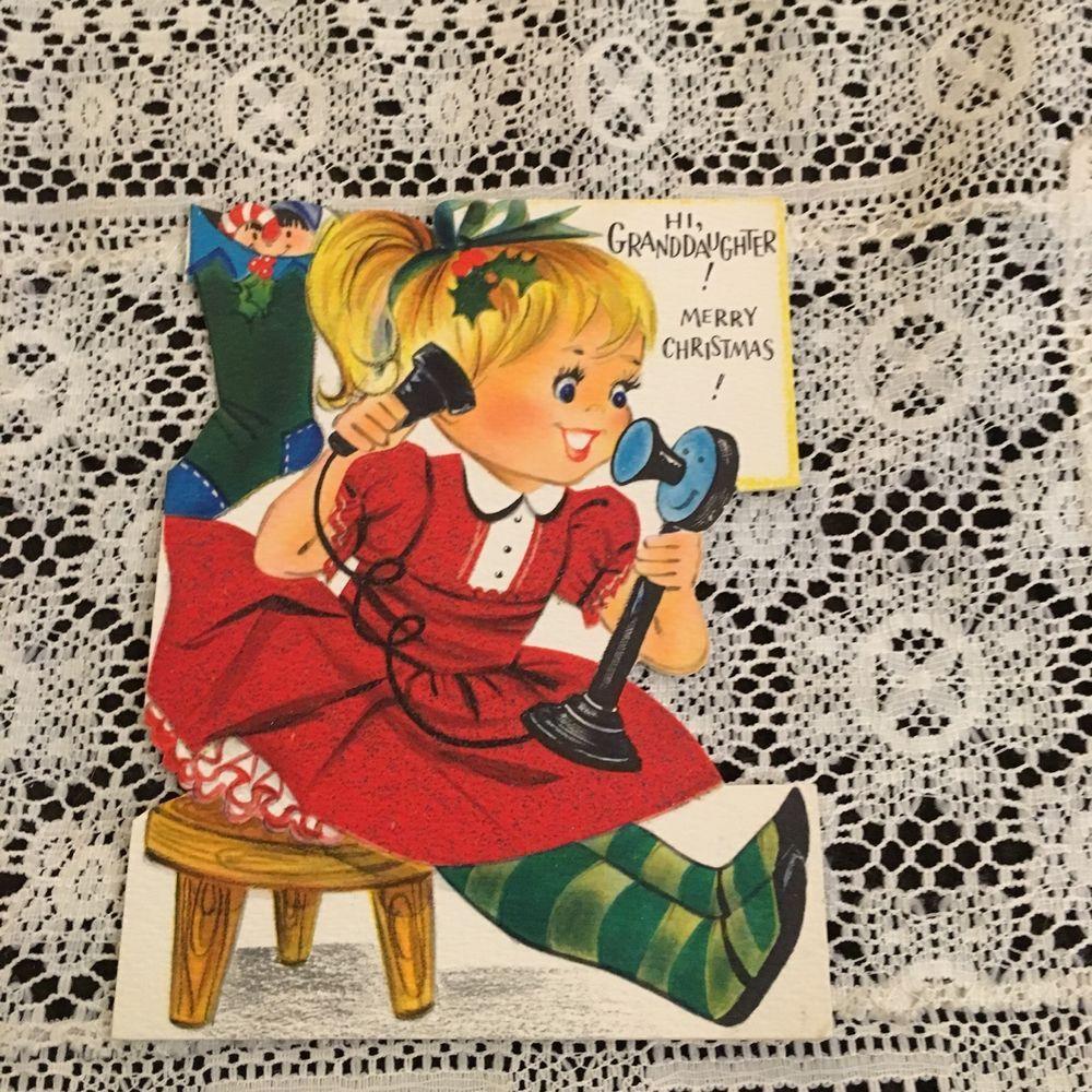 Vintage Greeting Card Christmas Cute Girl On Phone Dress Vintage
