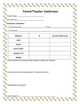 Parent/Teacher Conference Form-free | Classroom Management ...