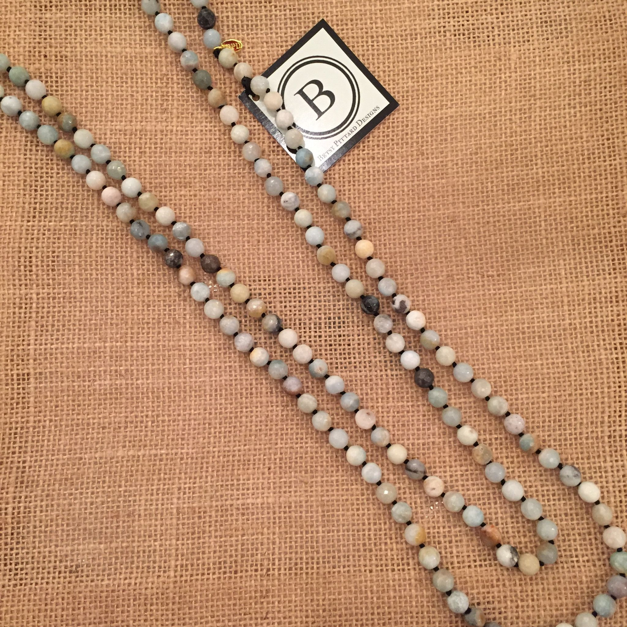 Betsy Pittard Amazonite Knotted Long Necklace