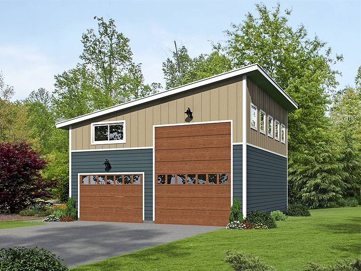 062g 0076 modern rv garage plan with loft garage plans for Lofted garage