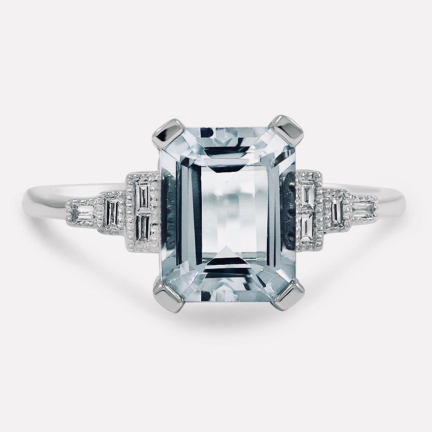 Emerald cut shaped diamond ring