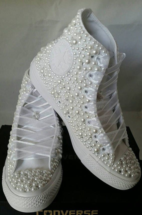 Wedding Converse- Bridal Sneakers- Bling & Pearls Custom Converse Sneakers- Bridal Chuck Taylors- Wedding Sneakers- Converse wedding- Bride -  Looking for nice custom Converse? Look no further! These beauties are perfect for any occasion! The - #amp #Bling #Bridal #bride #Chuck #Converse #custom #cuteweddingdress #pandoracharms #pandorarings #pearls #Sneakers #Taylors #wedding #weddingbride