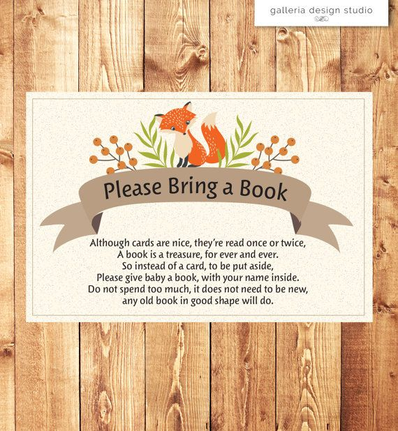 Bring a book instead of a card woodland owl woodland baby shower woodland fox baby shower invitation insert please bring a book instead of a card by stopboris Gallery