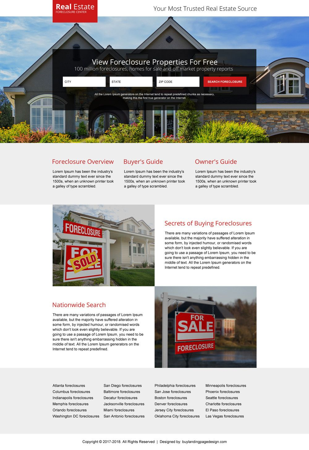 Minimal Real Estate Foreclosure Properties Responsive Landing Page Design Real Estate Foreclosure Real Estate Website Design Real Estate Landing Pages