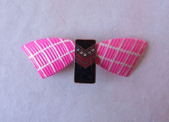 New listing added Handmade Barrette on French Clip Pink Black and White Repurposed Hair Accessories Recycled Upcycled Vintage Jewelry by HandmadeBarrettes