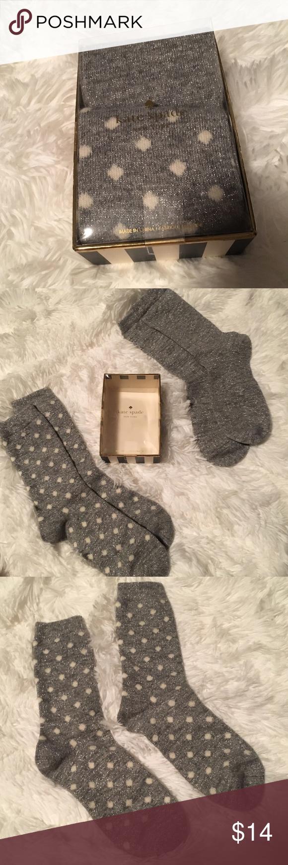 BNIB Kate Spade Socks Gift Set Kate Spade gift set that includes 2 pairs of socks. 1 Pair of gray sparkly socks and 1 pair of sparkly polkadot socks. 100% Authentic. Brand new in box. kate spade Accessories Hosiery & Socks