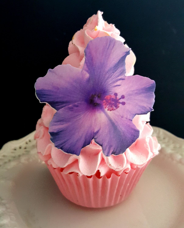 Edible Wafer Flat Purple,Pink or Teal Hibiscus Flower,Cake/Cupcake ...