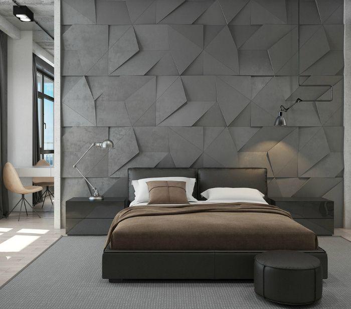 современные спальни дизайн: Серая стена, украшенная 3D панелями.