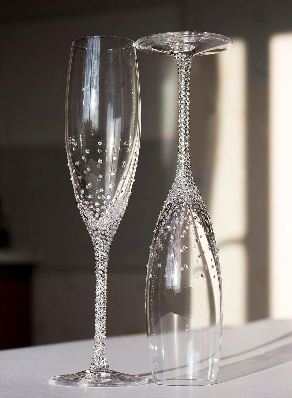 Champagne wedding flutes set of 2 wedding glasses bride