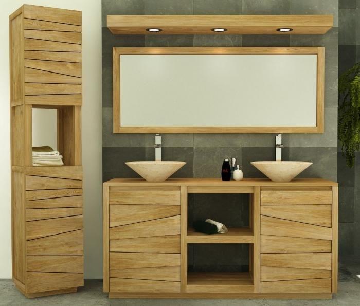 Meuble salle de bain belair l160 en teck meuble salle de - Meuble salle de bain teck castorama ...