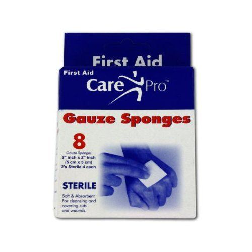 """24 Gauze sponges; 2"""" x 2""""; pack of 8 by FindingKing. $46.99. Add a box of these to the first aid kit and feel confident that you can handle a basic wound emergency. Each box contains 8 2"""" x 2"""" gauze sponges that can be used for cleaning and covering cuts and wounds."""