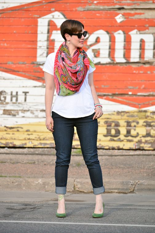 5385eafb7d Already Pretty outfit featuring Desigual scarf, white tee, polka dot jeans,  green ECCO pumps, skull bracelets