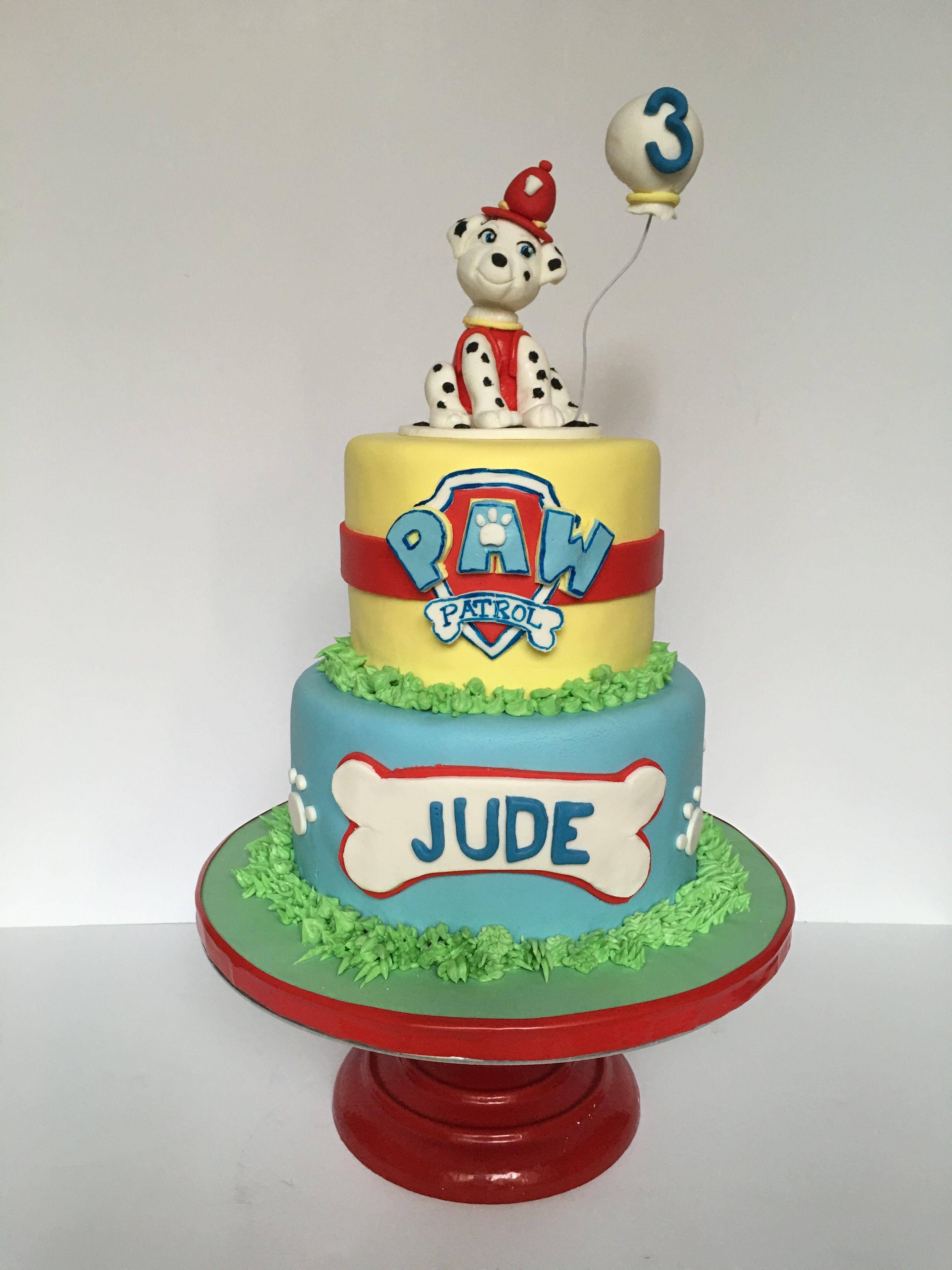 Paw Patrol third birthday cake with Marshall figurine Happy