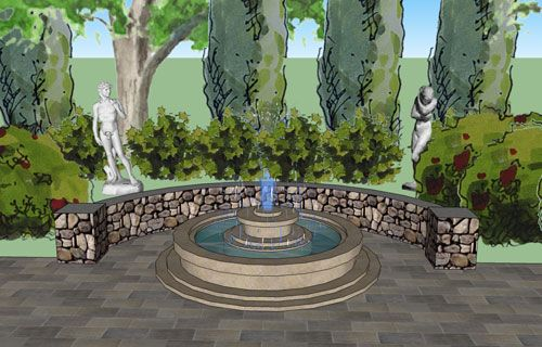 Wow...look How A 3D Design Really Brings A Landscape Design To Life! This  Design Has A Curved Seat Wall, A Fountain, Sculpture Placement And Tall  Evergreens ...
