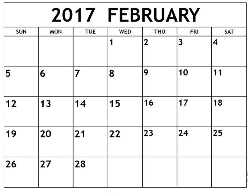 February  Calendar Blank Template  Birthday Cakes