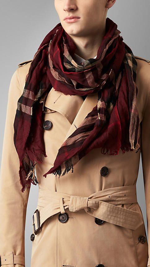 Claret check Check Wool Cashmere Crinkled Scarf - Lightweight extra fine  Merino wool and cashmere crinkled scarf in check. Fringing at both ends. 41195b5940