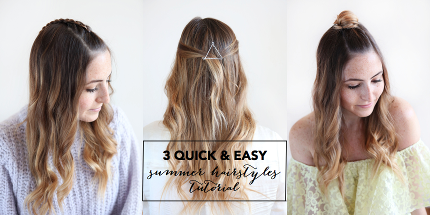 Summer Hairstyles 3 Quick And Easy Summer Hairstyles Tutorial  Style Recipes